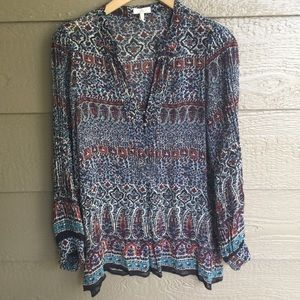 Joie printed swingy dressy tunic popover blouse